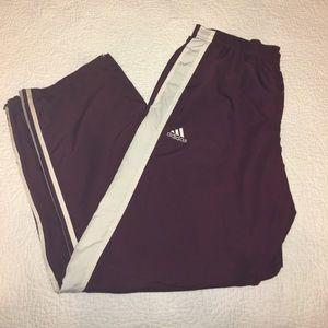 Maroon Adidas Zip Pants